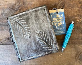 Fair Trade Artisan Botanical Design Hammered Steel Journal with Handmade Paper