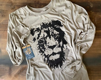 Greater is He Adult Unisex Mission Long Sleeve Shirt | Lion of Judah Long Sleeve Shirt | Christian Shirts for Men