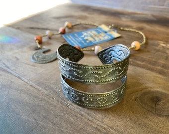 Fanm Djanm Strong Woman Warrior Collection Fair Trade Hammered Steel Recycled Metal Arm Cuff Bracelet