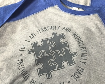 Autism Awareness: Fearfully Wonderfully Made Baseball Toddler Tees