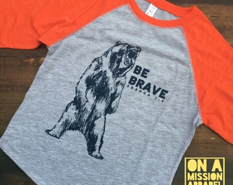 Be Brave Joshua 1:9 Hand Drawn Bear Youth Vintage Baseball Tees