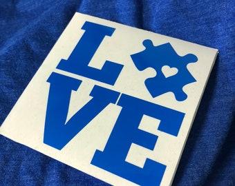 "Autism Awareness LOVE 3.25"" Square Vinyl Decal"