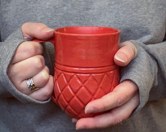 Sunset Coral Taino Tribe Hand Thrown Fair Trade Coffee Mug from Haiti Supporting Education for Children