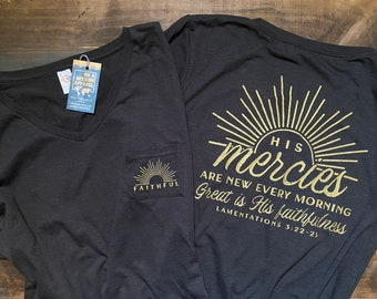 His Mercies Are New Great is His Faithfulness Women's Fair Trade Sustainable Triblend V-Neck Pocket Drop Hem Relaxed T-shirt
