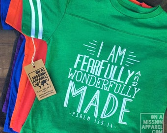 I Am Fearfully and Wonderfully Made Psalm 139:14 Youth Vintage Football Tees