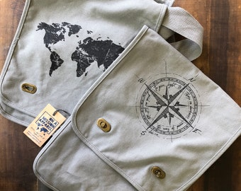 Way of Peace Luke 1:79 Canvas Messenger Field Bag with reversible design