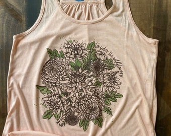 Consider the Wildflowers Hand drawn Bouquet Women's Flowy Racerback Tank Top | Farmers Market Tank Top | Christian Tank Top | gift for her