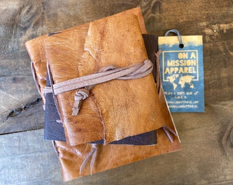 Fair Trade Artisan Leather Hand Sewn Pocket Size Journals with Handmade Paper
