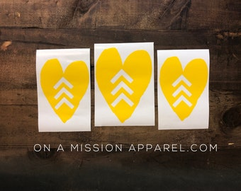 Down Syndrome Awareness Arrow Heart Vinyl Decal