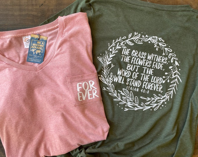 Featured listing image: Forever Isaiah 40:8 Wreath Women's Fair Trade Sustainable Triblend V-Neck Pocket Drop Hem T-shirt