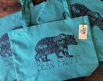 Bear Fruit Pigment Dyed Large Heavyweight Canvas Tote Bag | Christian Beach Tote Bag