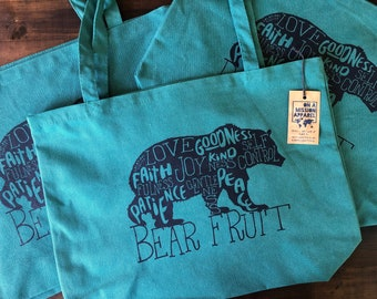 Bear Fruit Pigment Dyed Canvas Tote Bags