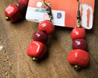 Ombre Haitian Clay Earrings Fair Trade Jewelry Gift