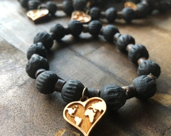 Fair Trade Love Your Neighbor with Heart Charm Banana Leaf Fired Clay Bracelet from Haiti