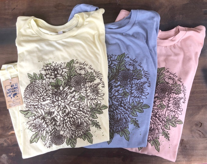 Featured listing image: Consider the Wildflowers Adult Unisex Mission Christian Triblend Shirt