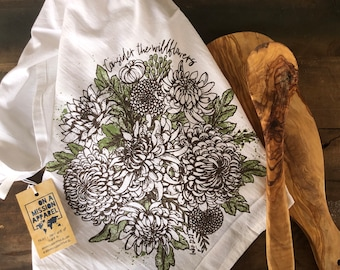 Consider the Wildflowers Flour Sack Dish Towel, Kitchen Towel, Hand Printed Tea Towl, Natural Cotton Towel