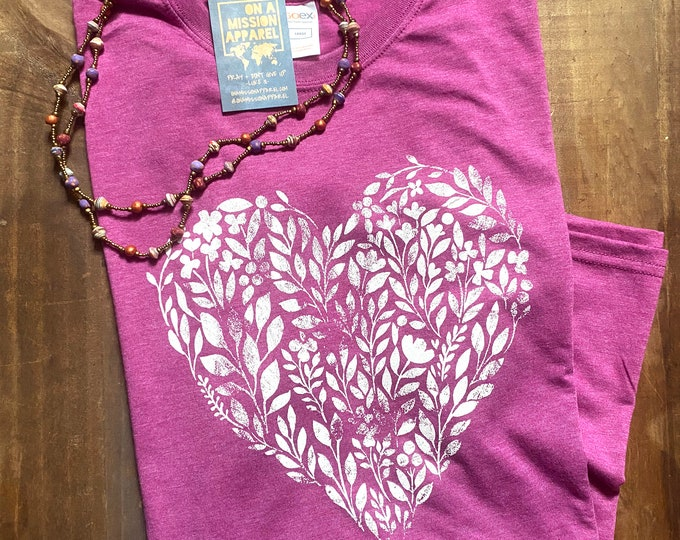 Featured listing image: Love Finds Life Floral Heart Fair Trade Eco Friendly Sustainable Triblend Unisex T-shirt   Christian Scripture Shirt for Women
