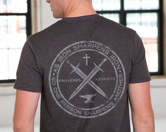 Iron Sharpens Iron Proverbs 27:17 Unisex Sustainable Eco Friendly Fair Trade Triblend T-shirt