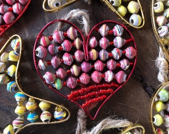 Fair Trade Paper Bead Wire Heart Ornament from Haiti