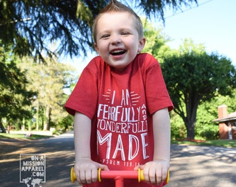 I Am Fearfully and Wonderfully Made Psalm 139:14 Youth Vintage Tees