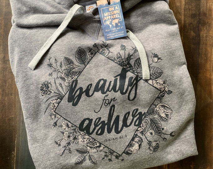 Featured listing image: Beauty For Ashes Fair Trade Sustainable Triblend Fleece Hoodie with Vintage Floral and Geometric Design