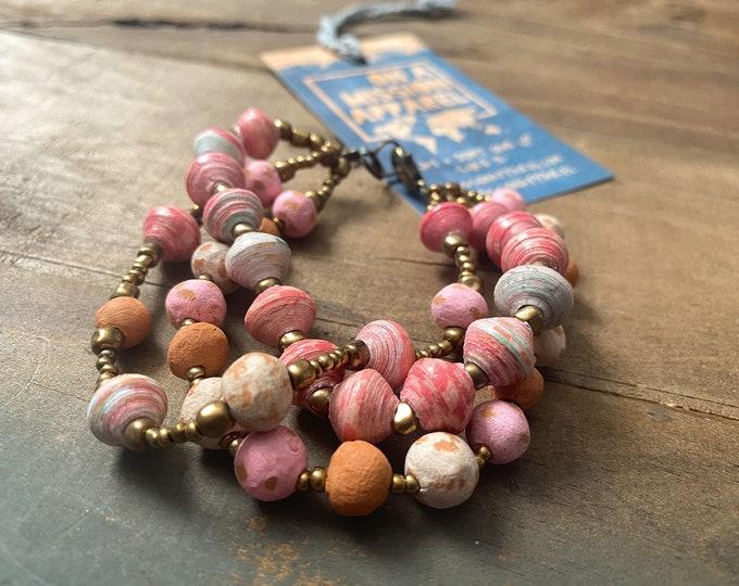 Featured listing image: Hadassah Pink Three Strand Beaded Bracelet Haiti Fair Trade Recycled Handmade Jewelry   Gift for Girl