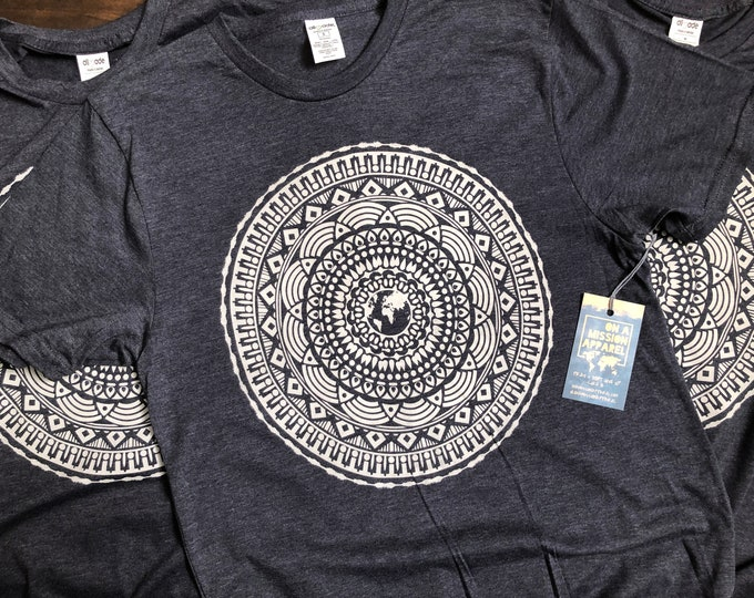 Featured listing image: Every Tribe Tongue and Nation Earth Mandala Adult Unisex Sustainable Fair Trade Triblend T-shirt