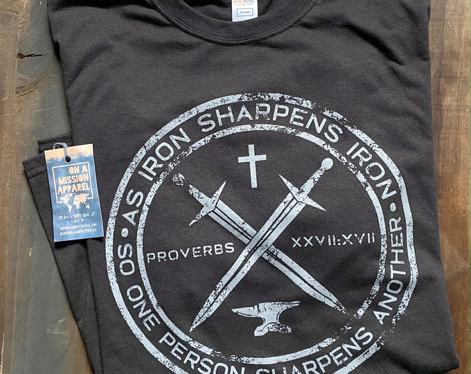 Featured listing image: Iron Sharpens Iron Proverbs 27:17 Front Design Only Unisex Sustainable Eco Friendly Fair Trade Triblend T-shirt   Christian Shirt for Men