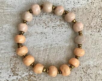 Ombre Pink and Sherbet Makensia Ocean Ceramic Bracelet Fair Trade from Haiti
