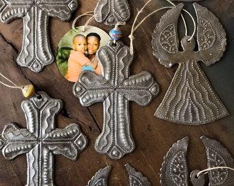 Cross Ornament Fair Trade Hammered Steel Drum from Haiti