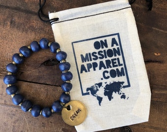 Dream Inspirational Fair Trade Navy Haitian Clay Bracelet