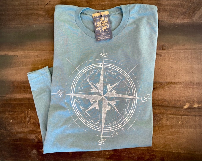 Featured listing image: Way of Peace Compass Adult Unisex Mission T Shirt | Christian T Shirts for Women | Christian T Shirts for Men