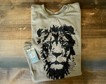Greater is He Adult Unisex Sustainable Fair Trade Triblend Mission T Shirt | Lion of Judah T Shirt | Christian T Shirts for Men