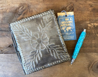 Fair Trade Artisan Floral Design Hammered Steel Journal with Handmade Paper