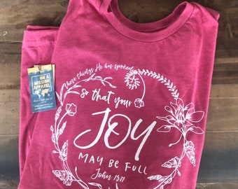 So That Your Joy May Be Full Wildflower Wreath Adult Unisex Tee