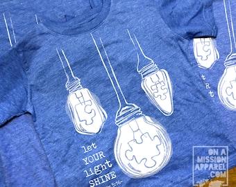 Autism Awareness Let Your Light Shine Matthew 5:16 Toddler Unisex Tee