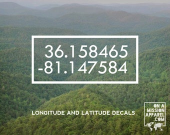 Latitude and Longitude Vinyl Decal // Geographic Coordinate Points // Lines of Longitude and Latitude Decal