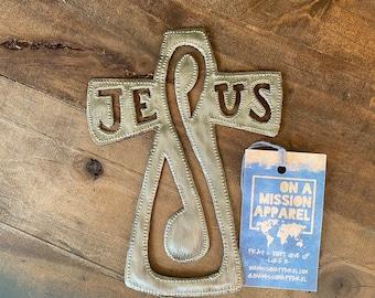 Jesus Hammered Steel Fair Trade Cross from Haiti | Wall Decor