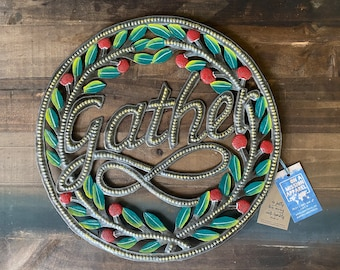 """Gather Wreath with Holly Berries 15"""" Fair Trade Artisan Hammered Steel Metal Art"""