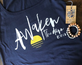 Awaken the Dawn Sunrise Beach Relaxed Fit Navy Women's Tank Top | Women's Christian Graphic Tank Top | gift for her