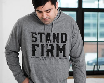 Stand Firm Ephesians 6 Sustainable Eco-Friendly Fair Trade Triblend Unisex Hooded Long Sleeve T-shirt | Christian Men Women Tee
