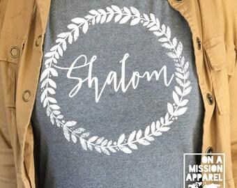 Shalom Wreath of Peace Adult Unisex Short Sleeve Tees