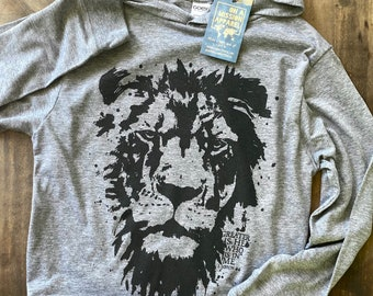 Greater is He Lion of Judah Fair Trade Sustainable Eco-Friendly Youth Hooded Long Sleeve Triblend T-shirt