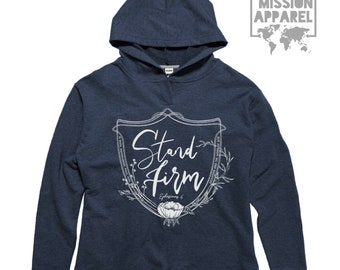Stand Firm Ephesians Armor of God Sustainable Fair Trade Women's Fleece Open Thumb Hoodie | Christian Sweatshirt with Hood