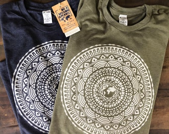 Every Tribe Tongue and Nation Earth Mandala Adult Unisex Sustainable Fair Trade Triblend T Shirt  | Mission Shirts