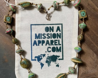 Shades of Green Signature Fair Trade Ceramic and Paper Bead Necklace