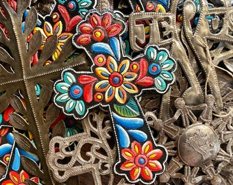 Painted Flower Hammered Steel Fair Trade Cross from Haiti | Wall Decor