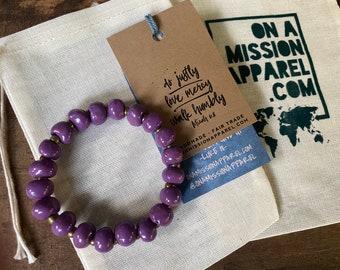 Purple Ceramic Bead Bracelet Fair Trade from Haiti