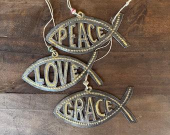 Peace Love Grace Ichthys Fish Hammered Steel Fair Trade Ornament from Haiti