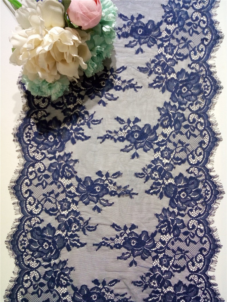 14 inch/ 35cm Wedding table runnerNavy lace table runner image 0